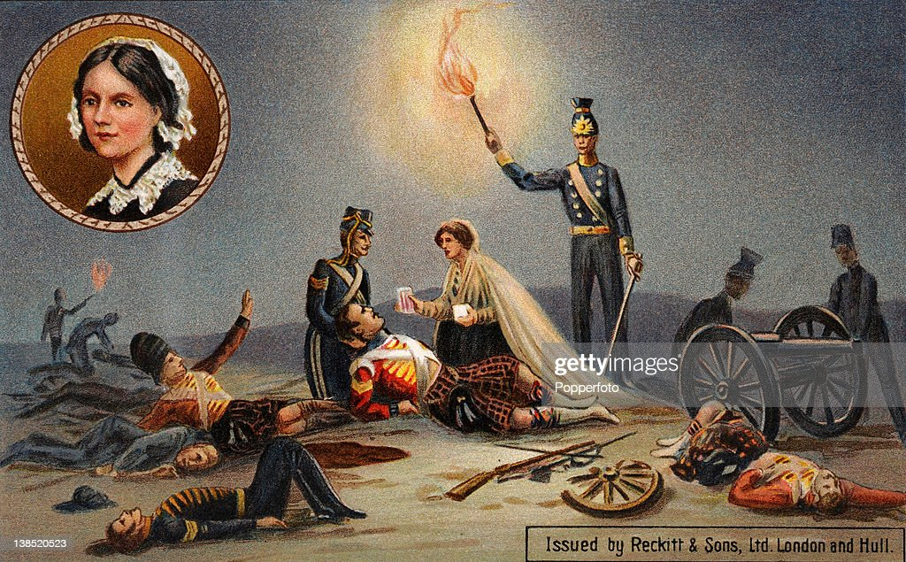 A Vintage Colour Illustration Of Florence Nightingale The Lady With The Lamp  Helping The Wounded On