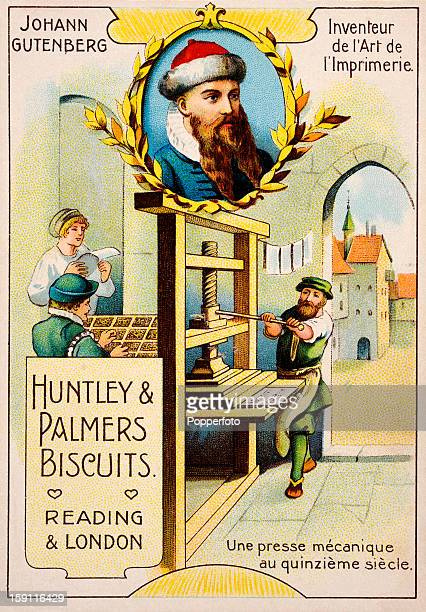 A vintage colour illustration of Johann Gutenberg German publisher and inventor of the printing press on an advertisement for Huntley Palmers...