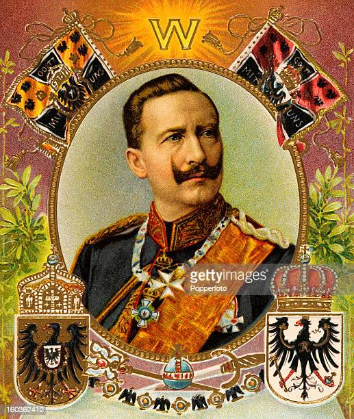 A vintage colour illustration of Kaiser Wilhelm II the last German Emperor and King of Prussia circa 1900