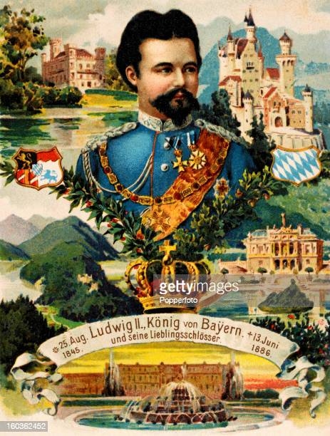 A vintage colour illustration of Ludwig II King of Bavaria surrounded by several of the royal residences for which he was responsible including the...