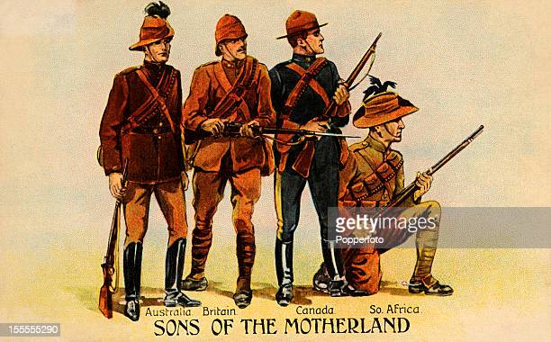 A vintage colour illustration of 'Sons of the Motherland' featuring soldiers from British Commonwealth nations who fought in the Second Boer War...