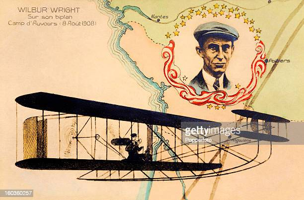 A vintage colour illustration of the American aviation pioneer Wilbur Wright flying his biplane over France on 8th August 1908
