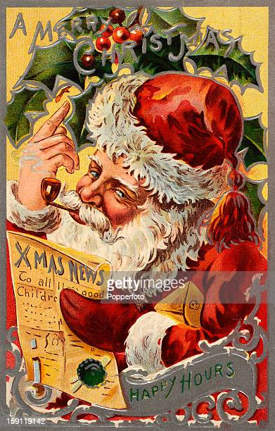 A vintage colour illustration sending Christmas greetings and featuring Santa Claus holding a copy of the 'Xmas News' published circa 1905