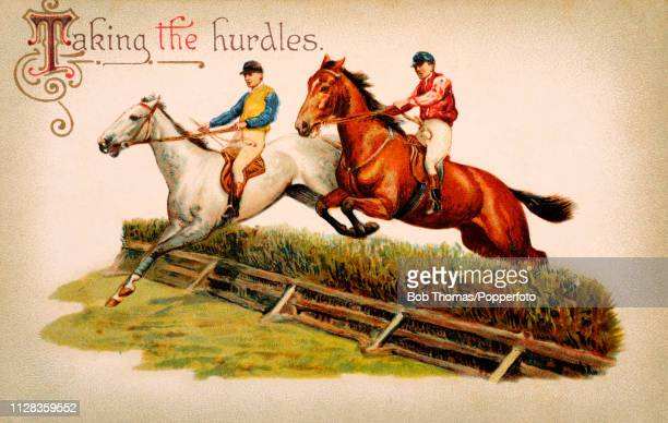 A vintage colour illustration titled Taking the hurdles at the racetrack circa 1912