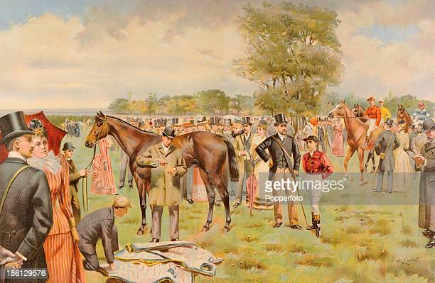 A vintage colour illustration titled The Derby The Paddock at Epsom featuring the Prince of Wales later King Edward VII with a jockey published in...