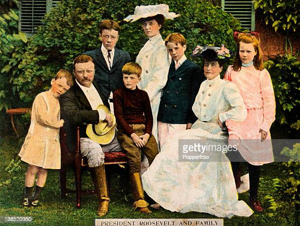 A vintage colour photograph of United States President Theodore Roosevelt and his family circa 1905 Left to right Quentin President Roosevelt...