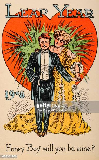 A vintage colour postcard celebrating Leap Year illustrating a woman standing behind a man with the message Honey Boy will you be mine published...