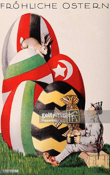 A vintage colour postcard featuring Happy Easter greetings and colour Easter eggs decorated with the flags of Germany and their allies during World...