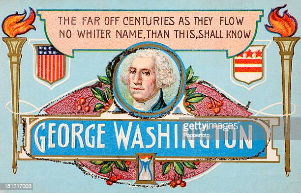 A vintage colour postcard illustrating George Washington first president of the United States featuring the stars and stripes of the Untied States...