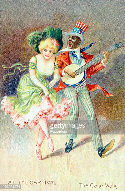Vintage colour postcard illustration featuring the cakewalk an American dance often performed in minstrel shows which had its origin as a plantation...