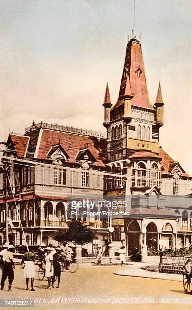 A vintage colour postcard showing the colonial Town Hall in Georgetown British Guiana circa 1930 British Guiana became Guyana after gaining...
