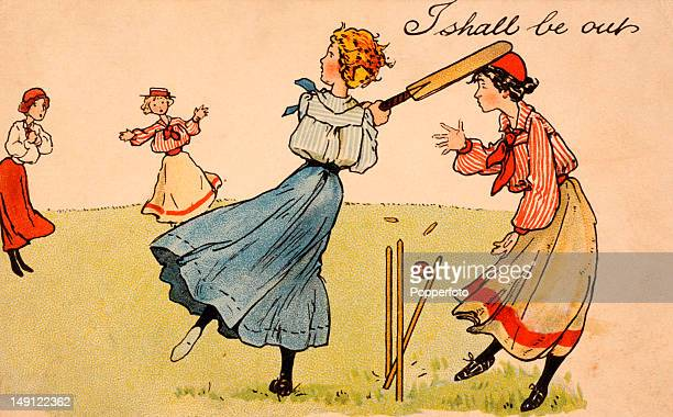 Vintage colour postcard with an illustration featuring some Edwardian ladies playing cricket, circa 1904.