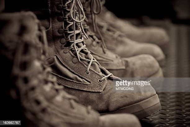 vintage combat boots - marines military stock photos and pictures
