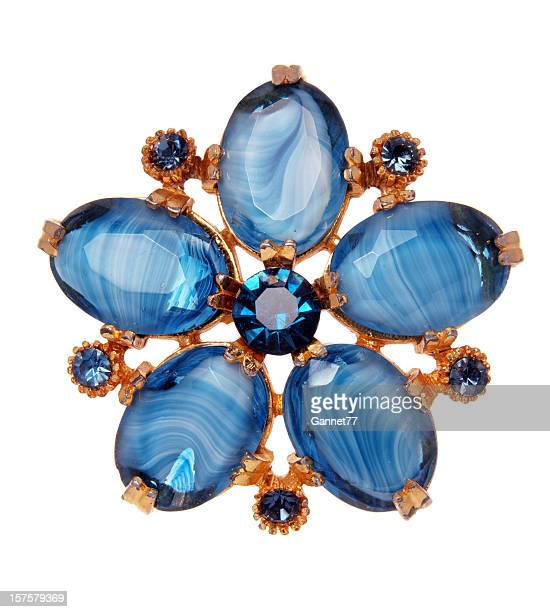 vintage costume jewellery on white - brooch stock pictures, royalty-free photos & images