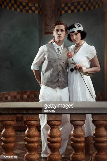 vintage couple in love - flapper stock photos and pictures