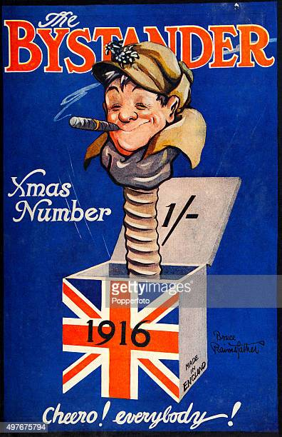 A vintage cover illustration for the Xmas edition of The Bystander a weekly British tabloid magazine featuring a British soldier as a jackinthebox...