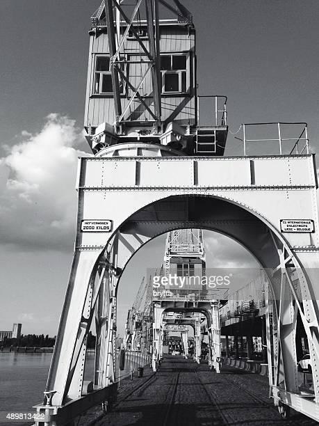 Vintage cranes along the Scheldt River in Antwerp,Belgium