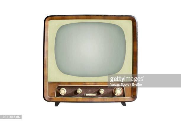 vintage crt tv set isolated on white background - obsolete stock pictures, royalty-free photos & images