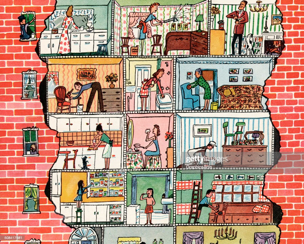 Brick Apartment Building Illustration. Vintage cutaway view of an urban apartment building  showing many its inhabitants going about 1940s Apartment Building Pictures Getty Images