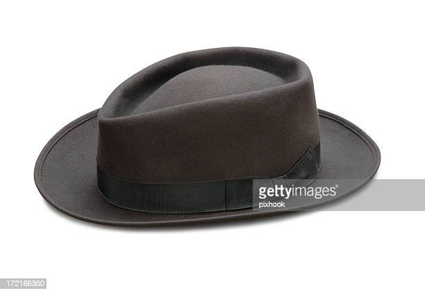 vintage dark grey fedora - gray hat stock pictures, royalty-free photos & images