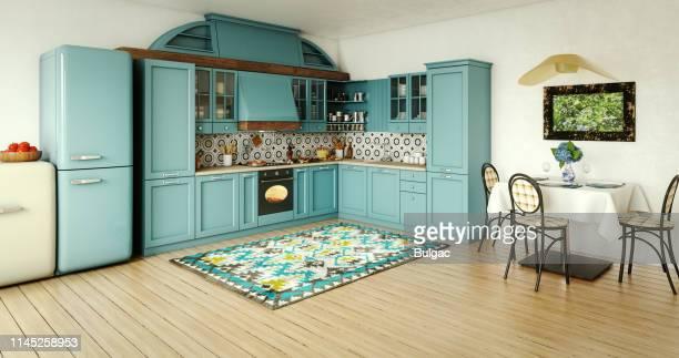 interior doméstico da cozinha do vintage - azul turquesa - fotografias e filmes do acervo