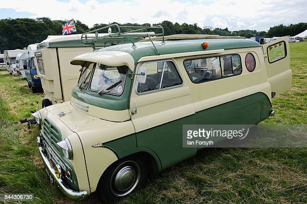A vintage Dormobile motorhome is displayed at the annual Duncombe Park Steam Fair on July 3 2016 in Helmsley England Held in the picturesque grounds...