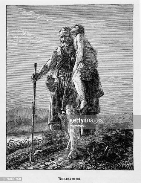 vintage engraving of flavius belisarius - empire stock pictures, royalty-free photos & images