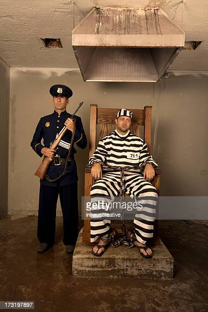 vintage execution with electric chair - electric chair stock photos and pictures