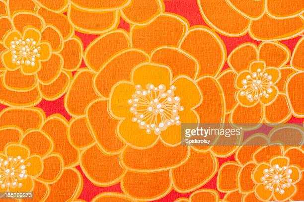 Vintage Fabric Background Power-Flower 1962-1972