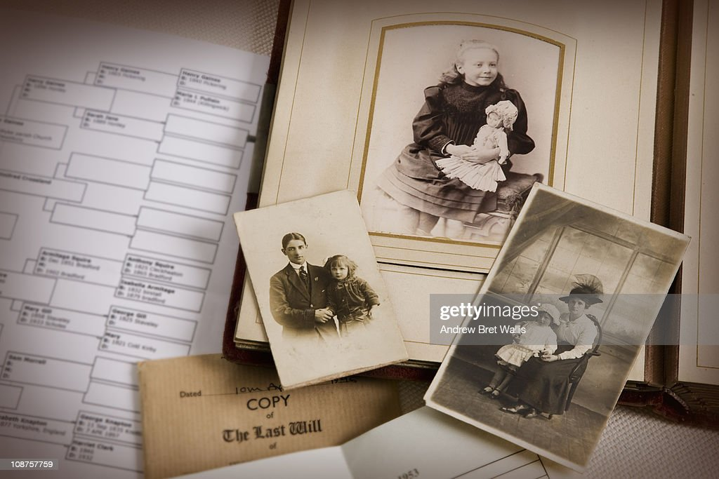 vintage family photo album and documents : Stock Photo