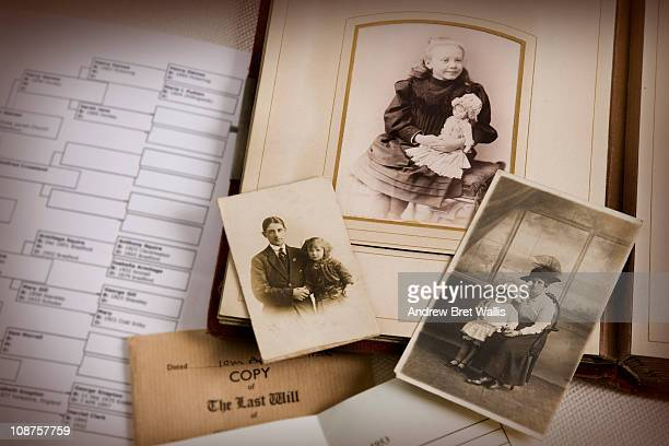 vintage family photo album and documents - history stock pictures, royalty-free photos & images