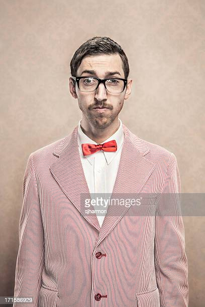 vintage fancy dressed nerd with bow tie and glasses - bow tie stock pictures, royalty-free photos & images