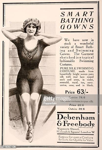 Vintage fashion advertisement for Smart Bathing Gowns available at Debenham & Freebody, London, circa June 1913.