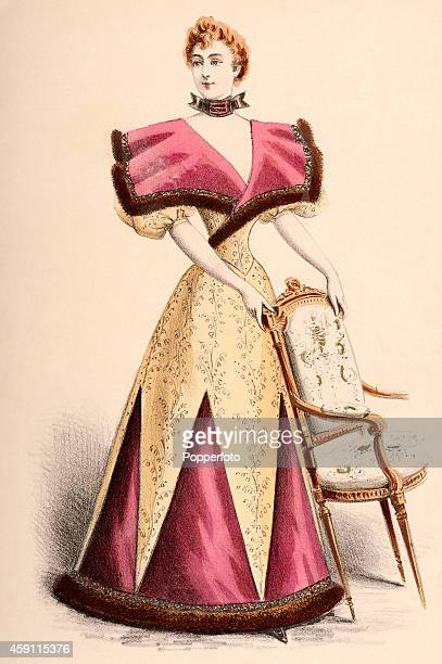 A vintage fashion illustration featuring a stylish lady wearing a panelled day dress and choker holding onto an upholstered chair circa 1895