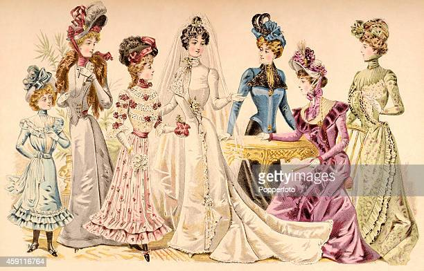 A vintage fashion illustration featuring five stylish ladies one a bride and two young girls circa 1899