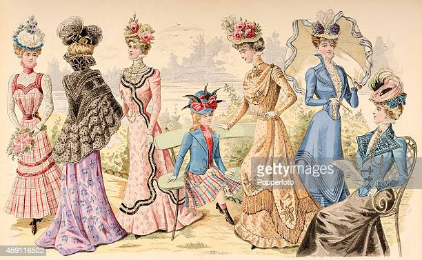 A vintage fashion illustration featuring six stylish ladies and a young girl wearing day dresses and ornate hats in a parkland setting circa 1899