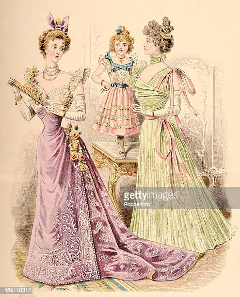 A vintage fashion illustration featuring two stylish ladies and a young girl in evening wear in an ornate setting circa 1898