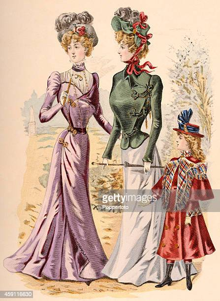 A vintage fashion illustration featuring two stylish ladies and a young girl wearing day dresses and ornate hats in a parkland setting circa 1899