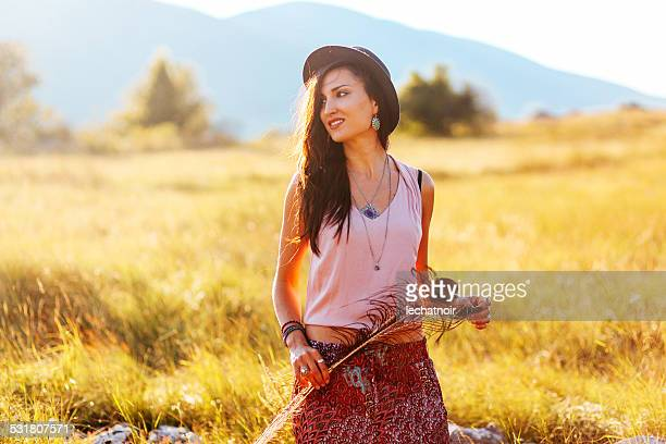 Vintage fashion portrait in the outdoors