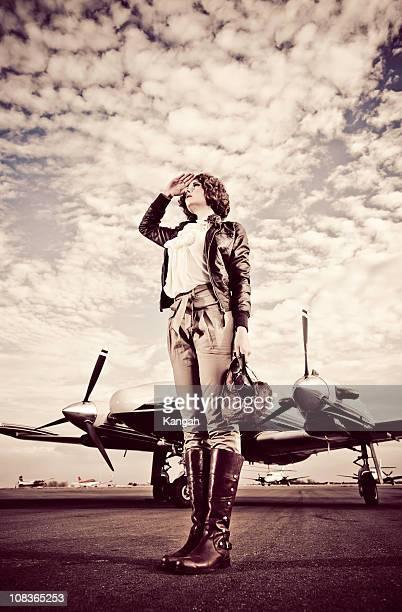 Vintage femme pilote