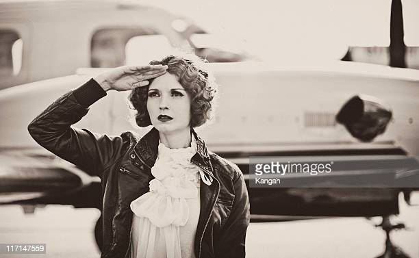 vintage female pilot - 20th century stock photos and pictures