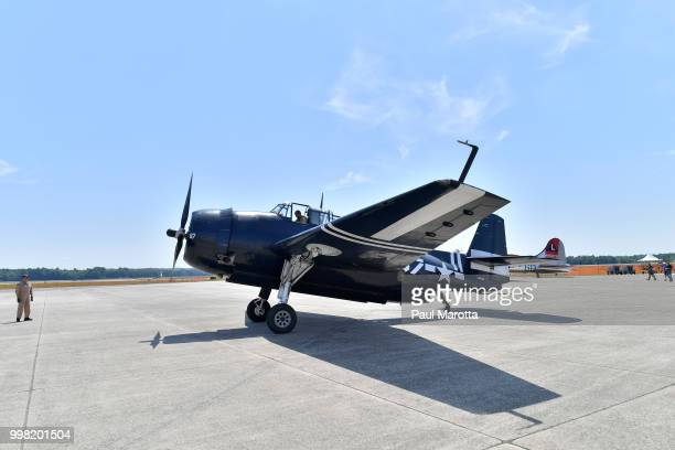 Vintage fighter aircraft are seen at the 2018 Great New England Air and Space Show Media Day at Westover Air Force Base on July 13 2018 in Chicopee...