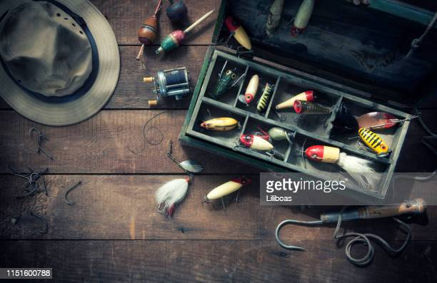 vintage fishing tackle background - fishing hook stock pictures, royalty-free photos & images