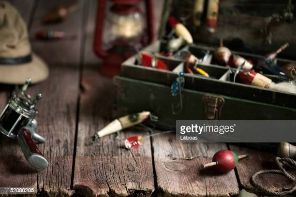 vintage fishing tackle background - fishing tackle stock pictures, royalty-free photos & images