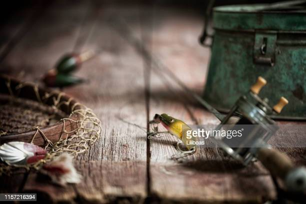 vintage fishing tackle background - pike fish stock pictures, royalty-free photos & images
