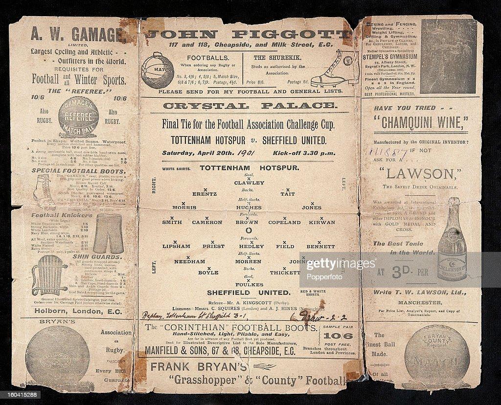 A Vintage Football Programme For The Association Cup Final Match Between Tottenham Hotspur And Sheffield