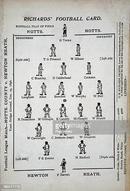 A vintage football programme or match card for a game between Notts County and Newton Heath featuring a field of play plus players and officials...