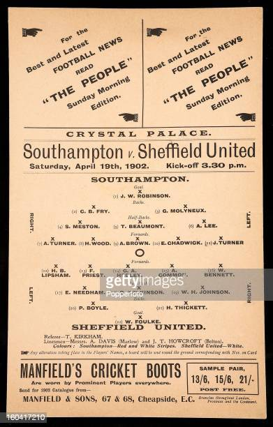 A vintage football programme or one penny match card for the Football Association Cup Final between Southampton and Sheffield United played before a...