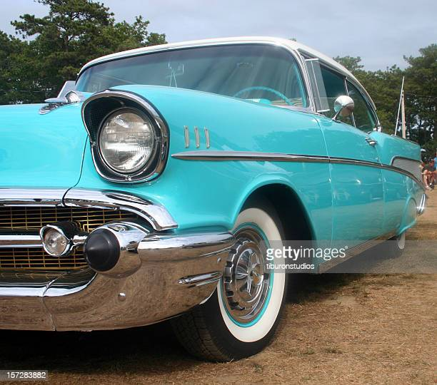 vintage ford car in light blue teal - car show stock pictures, royalty-free photos & images