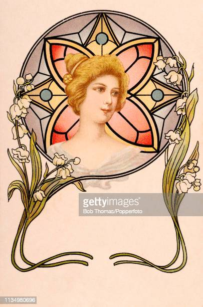 A vintage French Art Nouveau postcard illustration featuring the head of a young woman framed by a stained glass circle and lilies of the valley...